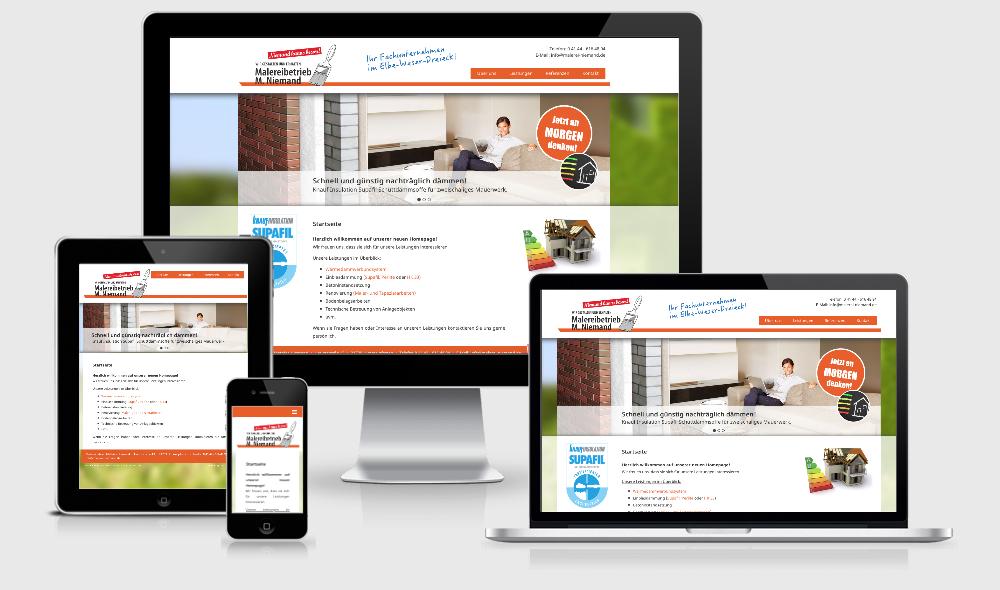 Webdesign Cuxhaven // Responsive Design - Malermeister Niemand aus Himmelpforten
