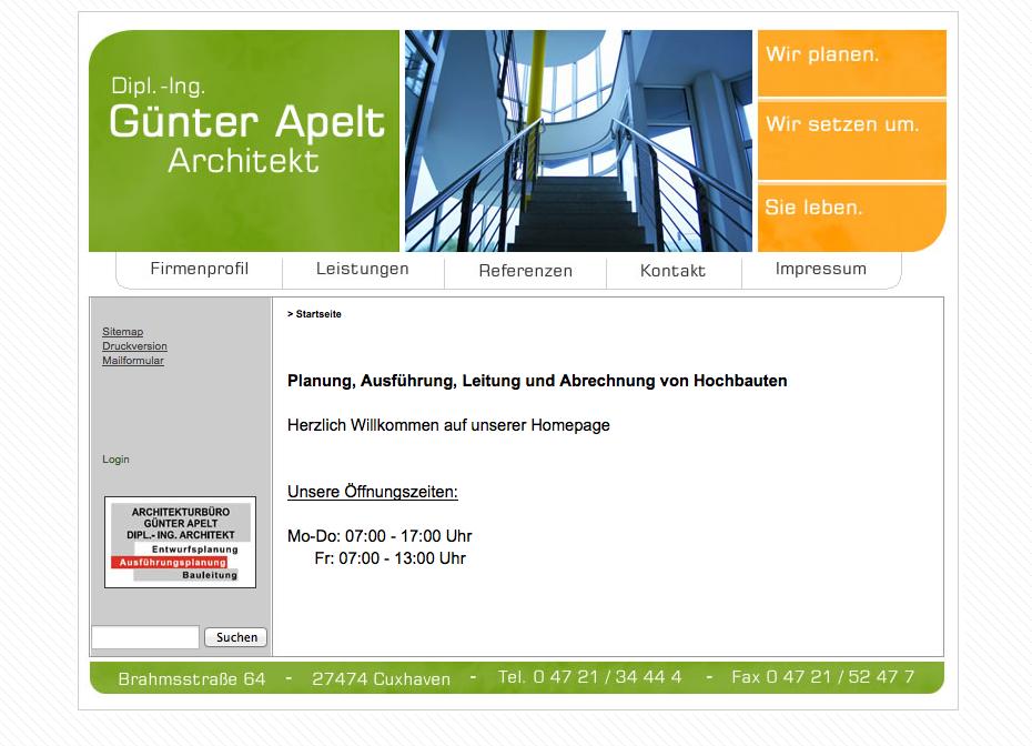 Webdesign Architekt Dipl.-Ing. Günter Apelt - Cuxhaven