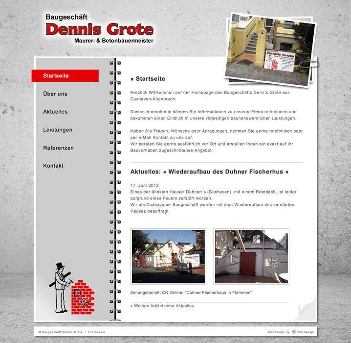 Webdesign Baugeschäft Dennis Grote - Cuxhaven Altenbruch