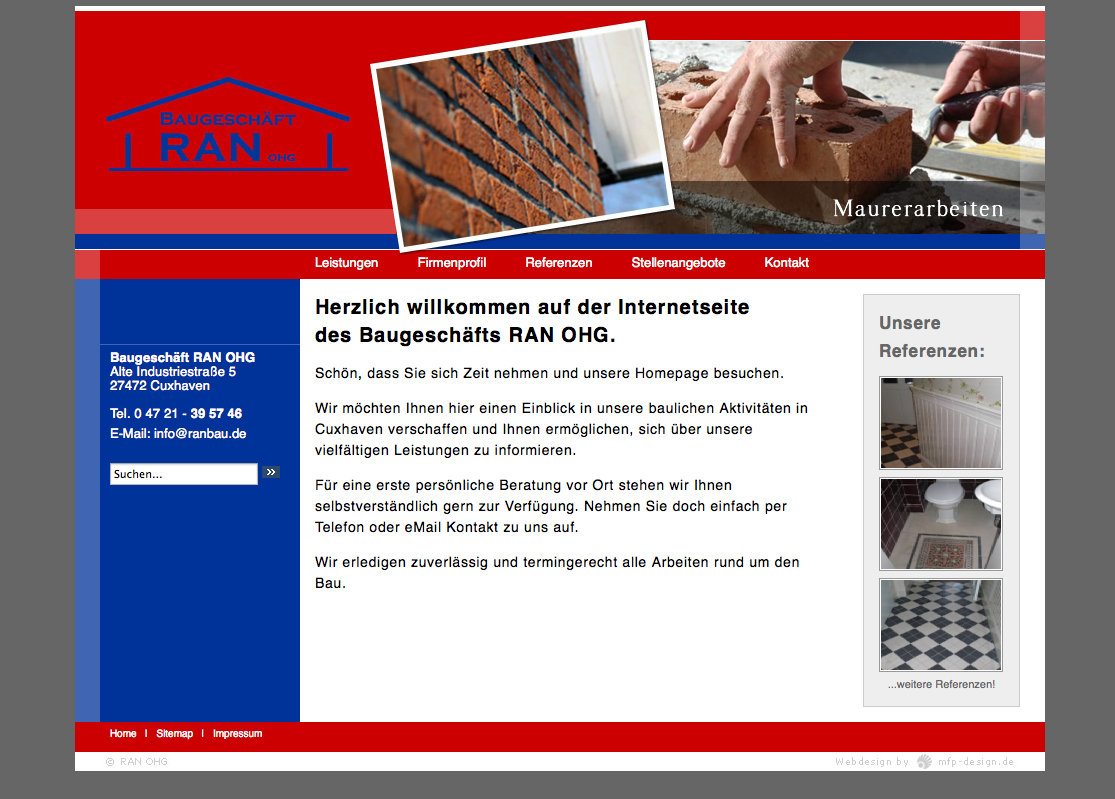 Webdesign Baugeschäft RAN OHG - Cuxhaven Groden