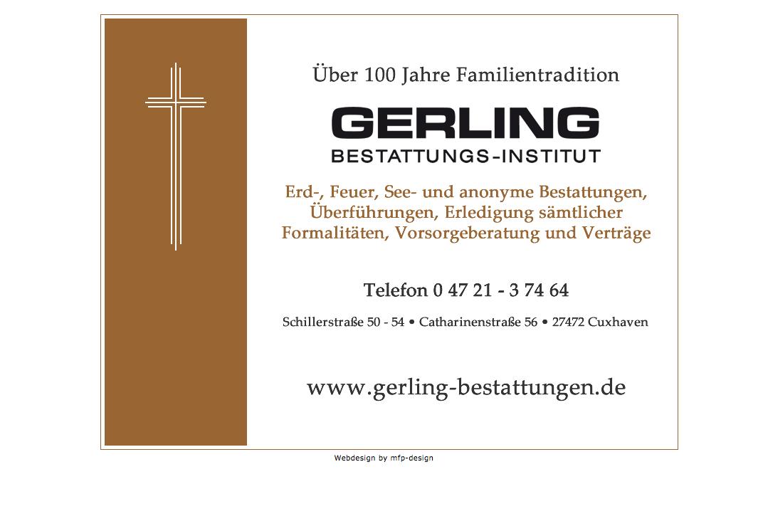 Webdesign Bestattungen Gerling - Cuxhaven Lotsenviertel