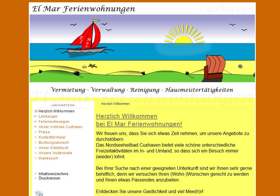 Webdesign El Mar Ferienwohnungen Fam. Efferz - Cuxhaven Holte-Spangen