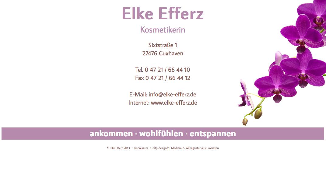 Webdesign Elke Efferz Kosmetikerin - Cuxhaven Holte-Spangen