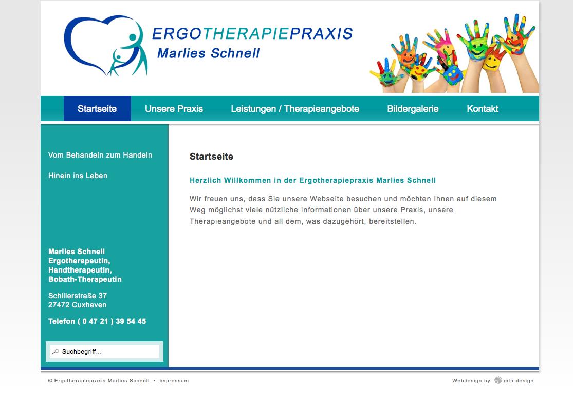 Webdesign Ergotherapiepraxis Marlies Schnell - Cuxhaven Lotsenviertel