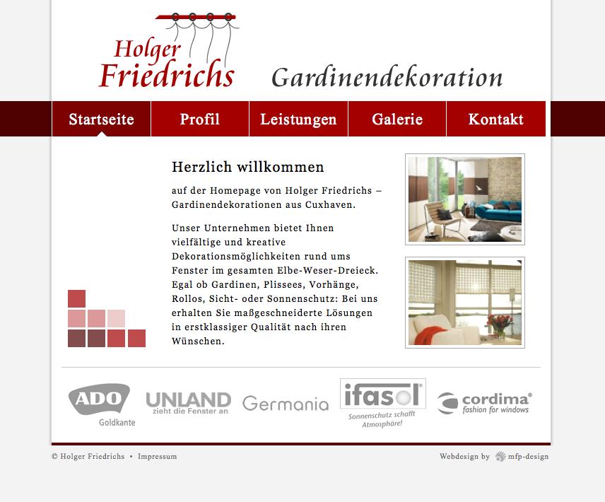 Webdesign Holger Friedrichs Gardinendekorationen - Cuxhaven Duhnen