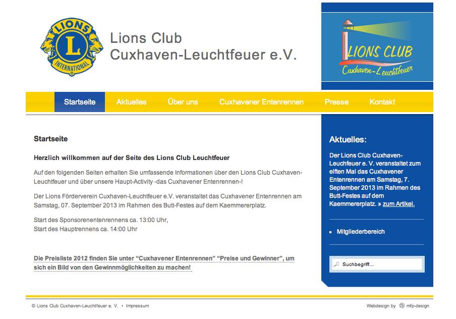 Webdesign Lions Club Leuchtfeuer - Cuxhaven