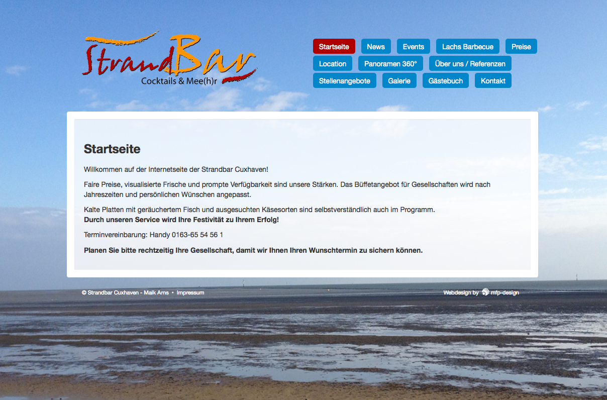 Webdesign Strandbar Cuxhaven - Cuxhaven Döse