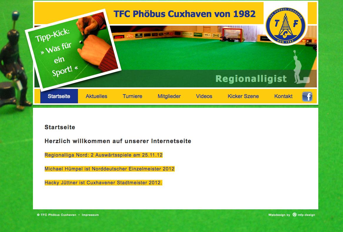 Webdesign TFC Phöbus Cuxhaven