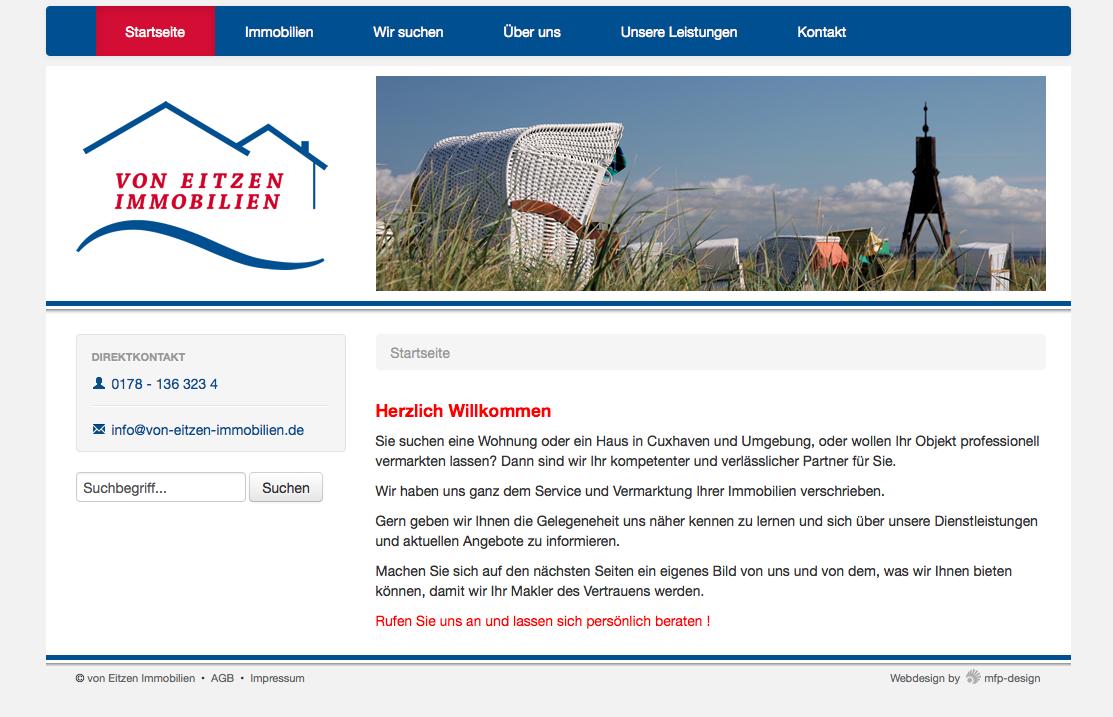 Webdesign Von Eitzen Immobilien - Cuxhaven