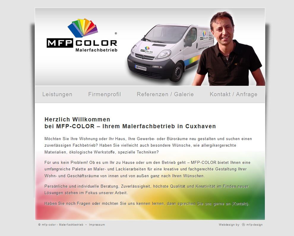 Webdesign mfp-color Malerfachbetrieb - Cuxhaven Groden